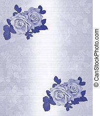 כחול, ורדים, הזמנה של חתונה
