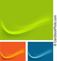 כחול, טפט, השפעות, רקע, גלים, תפוז, ירוק