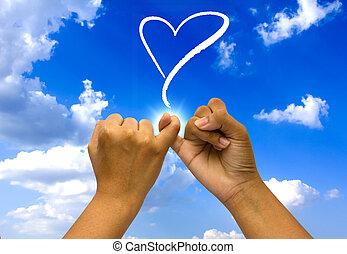 כחול, ידיים, קשר, שני, sky.