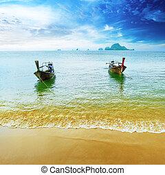 כחול, נוף, נוף, boat., טבע, מעץ, resort., טייל, אי, שמיים, טרופי, מסורתי, יפה, גן עדן, תאילנד, החף, summer., השקה