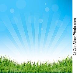 כחול, סאנבארסט, ו, דשא, רקע