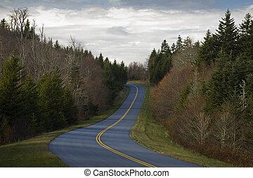 כחול, סתו, כביש מהיר, רכס