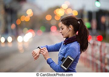 כחול, עיר, אישה, צעיר, לרוץ, סווטשירט
