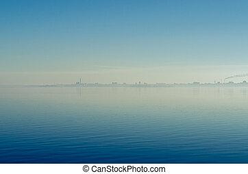 כחול, עיר, מקטרות, שמיים, השתקף, נגד, השקה, ערפל, לעשן