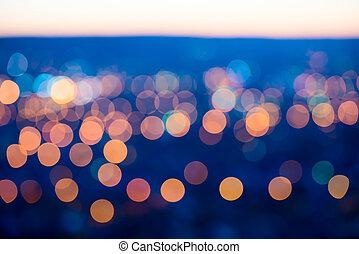 כחול, עיר, רקע, גדול, תקציר, אורות, bokeh, אופק, עגול