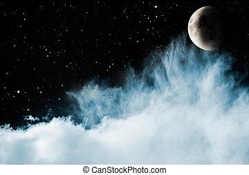 כחול, עננים, ירח