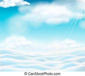 כחול, עננים, נוצי, שמיים