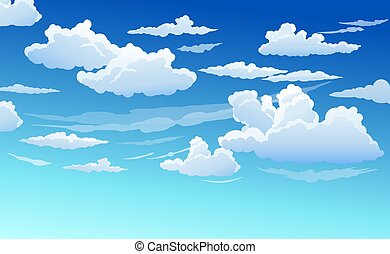 כחול, עננים, שמיים, ברור, בהיר, לבן, יום