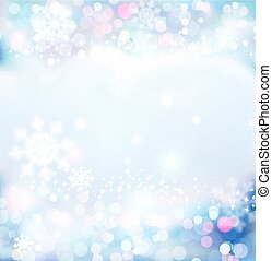 כחול, פתיתות שלג, חגיגי, מואר, year., וקטור, רקע, טשטש, חדש, חג המולד