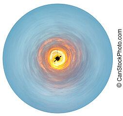 כחול, צהוב, עלית שמש, מסביב, קטן, כוכב לכת