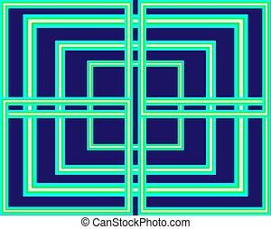 כחול, קבע, תבנית, נאון, מואר, רקע ירוק, ריבועים
