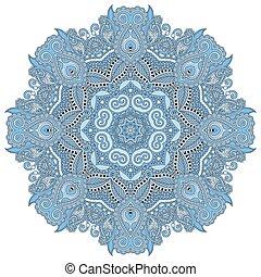 כחול, קישוטי, רוחני, צבע, מנדאלה, הודי, הסתובב, סמל