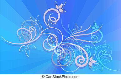 כחול, רקע., קרנות, קישוט, פרחוני