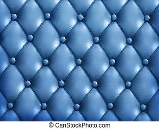 כחול, button-tufted, עור, רקע., וקטור, illustration.