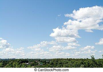 כחול, cloud., horizon., sky.