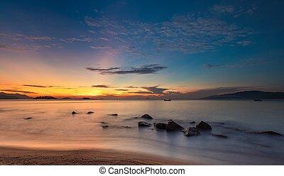 כחול, nha, שמיים, אוקינוס, ויטנאם, trang, עלית שמש