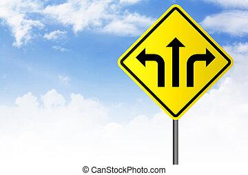 כיוון, רחוב, חיצים, סימן צהוב