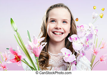 כיף, דמות של ילדה, עם, flowers.