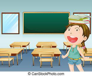 כיתה, ילדה, בתוך, צעיר