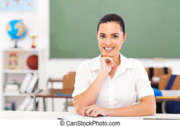 כיתה, מורה, ראשי, נקבה, לשבת