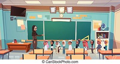 כיתה, מושג, קבץ, תלמידים, ערבי, שיעור, חינוך, מורה