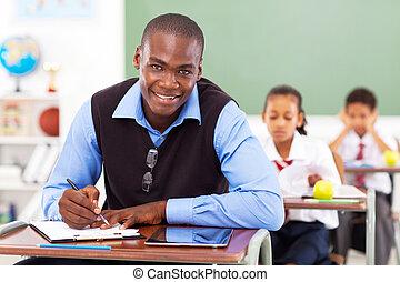 כיתה, שיעור, זכר, להתכונן, מורה