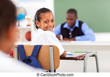 כיתה, תלמידה, חמוד, יסודי