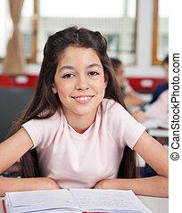 כיתה, תלמידה, שולחן, לשבת