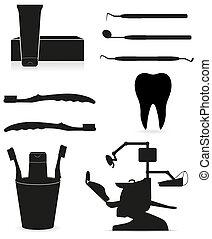 כלים, של השיניים, צללית, שחור