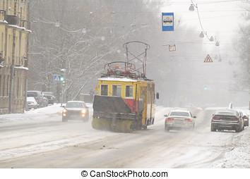 כלי רכב, ב, עיר, דרכים, ב, ה, winter.