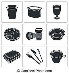 כלי שולחן, לשימוש חד פעמי, אוסף, איקון