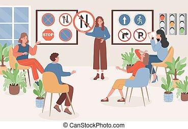 כללים, אנשים, ללמוד, תנועה, וקטור, lessons., illustration., סימנים, דרך, נהגים, לנהוג, תאוריה, אישה, למד, דירה