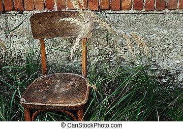 כסא מעץ ישן, ו, דשא, ב, חצר אחורית, ברקע, של, הזדקן, דיר, דממה, קיץ, רגע, פסק, ל, טקסט