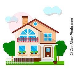 כפר, גדר, דיר, עצים, לבן ירוק, נחמד