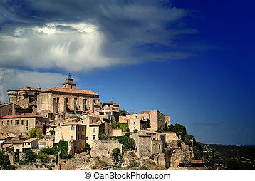 כפר, עתיק, של ימי הביניים, גורדאס, צרפת, 6, פסגה גבעה