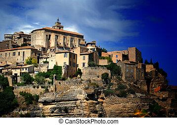 כפר, עתיק, של ימי הביניים, גורדאס, צרפת, 7, פסגה גבעה