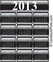 כפתורים, מבריק, וקטור, שחור, לוח שנה, 2013