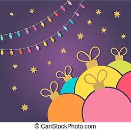 כרטיס, אורות, תכשיטים זולים, צבעוני, חג המולד