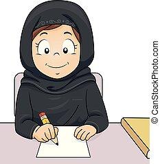 כתוב, למד, קטאר, ילדה, צחק, דוגמה