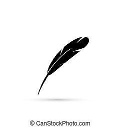 כתוב, נוצה, icon., לכתוב