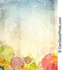 כתמים, צבע, נייר, ישן, טקסטורה