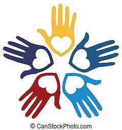 לאהוב, אחד, ידיים, vector.