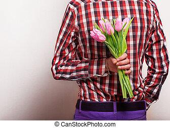 לאהוב זוג, -, איש, עם, עלה, לחכות, שלו, woman., יום של ולנטיין