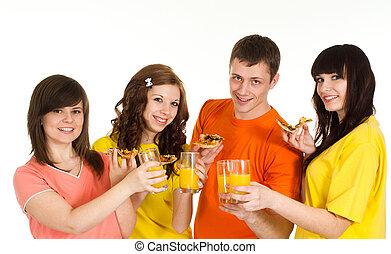 לאכול, קמפיין, אנשים, מבריק, ארבעה, שמח, פיצה