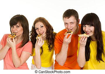 לאכול, קמפיין, אנשים, מבריק, ארבעה, שמח, קוקאייזיאני, פיצה