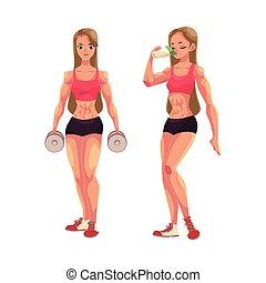 לאלף, אישה, אחרי, בונה גוף, דאמבאלס, להחזיק, זעזע, לשתות, חלבון