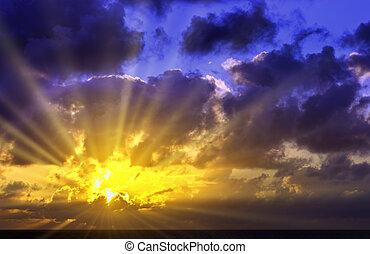 לאנזארוט, מעל, -, ציפור שיר, אוקינוס, עלית שמש, דרמטי, איים של אטלנטיקה, הבקע, ספרד, לפני
