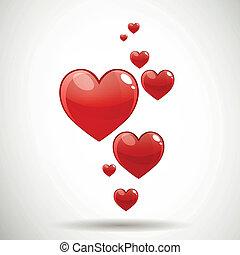 לבבות, וקטור, אדום