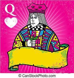 לבבות, מלכה, דגל, דוגמה, צבעוני