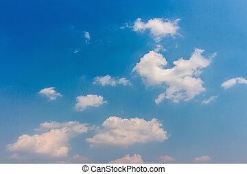 לבן, נוצי, עננים, ב, ה, כחול, sky.